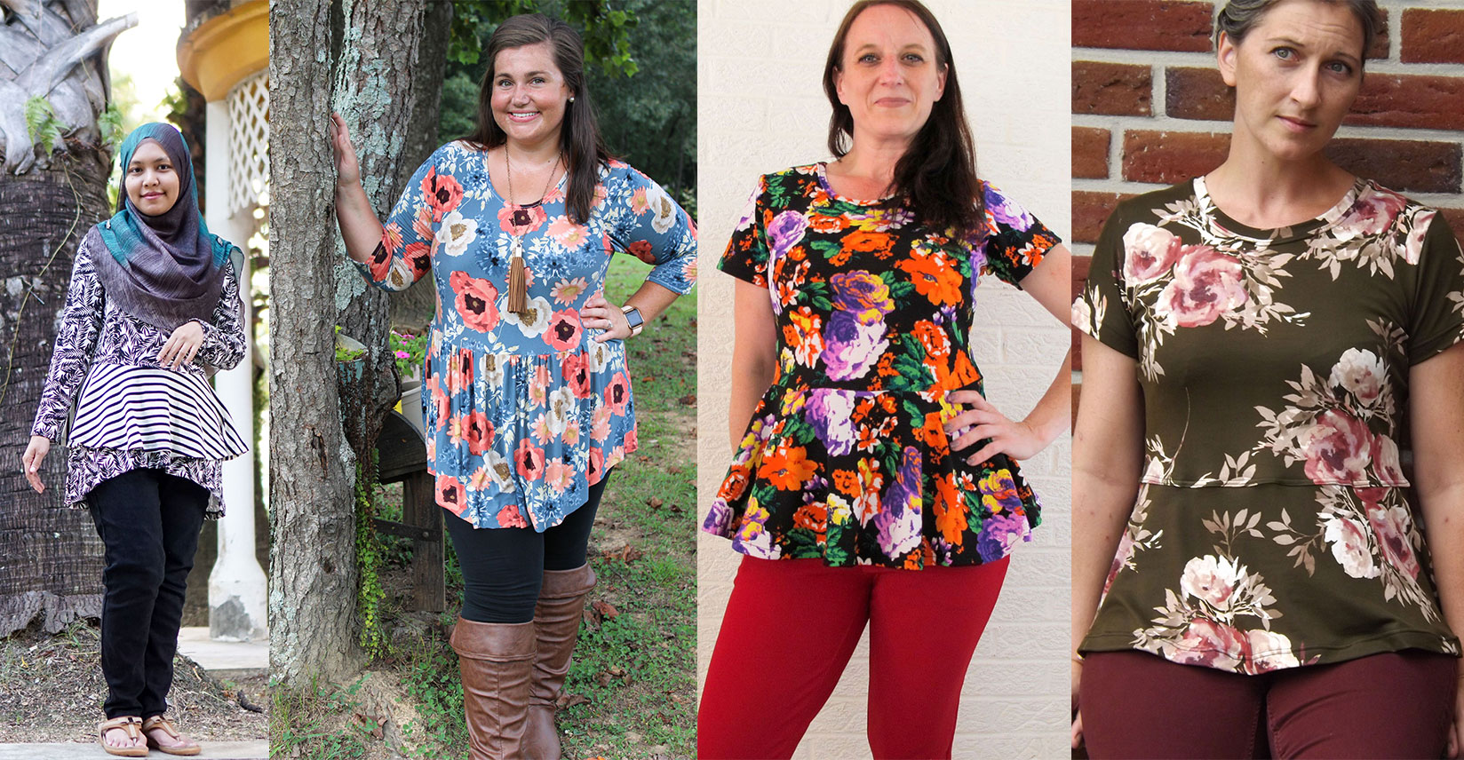 Left: High/Low Peplum with Double Skirt Center Left: Gathered Curved Hem Center Right: Full Circle Peplum Right: Half Circle Peplum